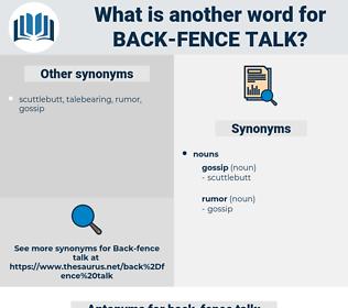 back fence talk, synonym back fence talk, another word for back fence talk, words like back fence talk, thesaurus back fence talk
