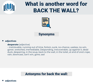 back the wall, synonym back the wall, another word for back the wall, words like back the wall, thesaurus back the wall