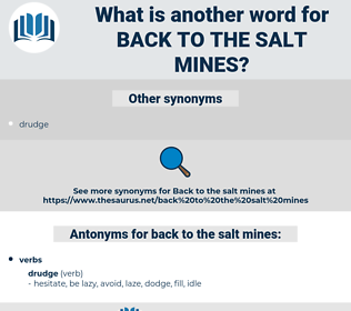 back to the salt mines, synonym back to the salt mines, another word for back to the salt mines, words like back to the salt mines, thesaurus back to the salt mines