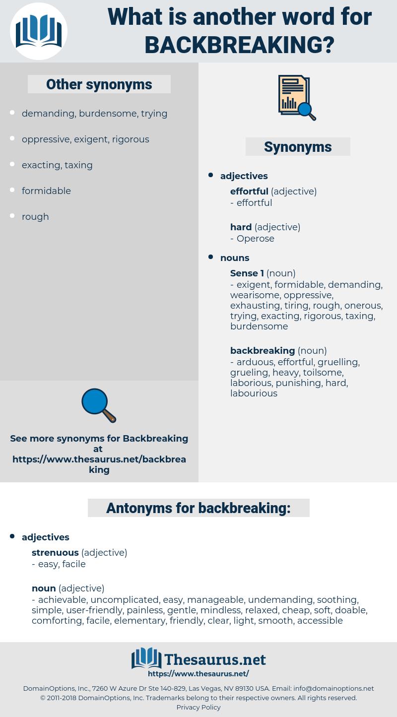 backbreaking, synonym backbreaking, another word for backbreaking, words like backbreaking, thesaurus backbreaking