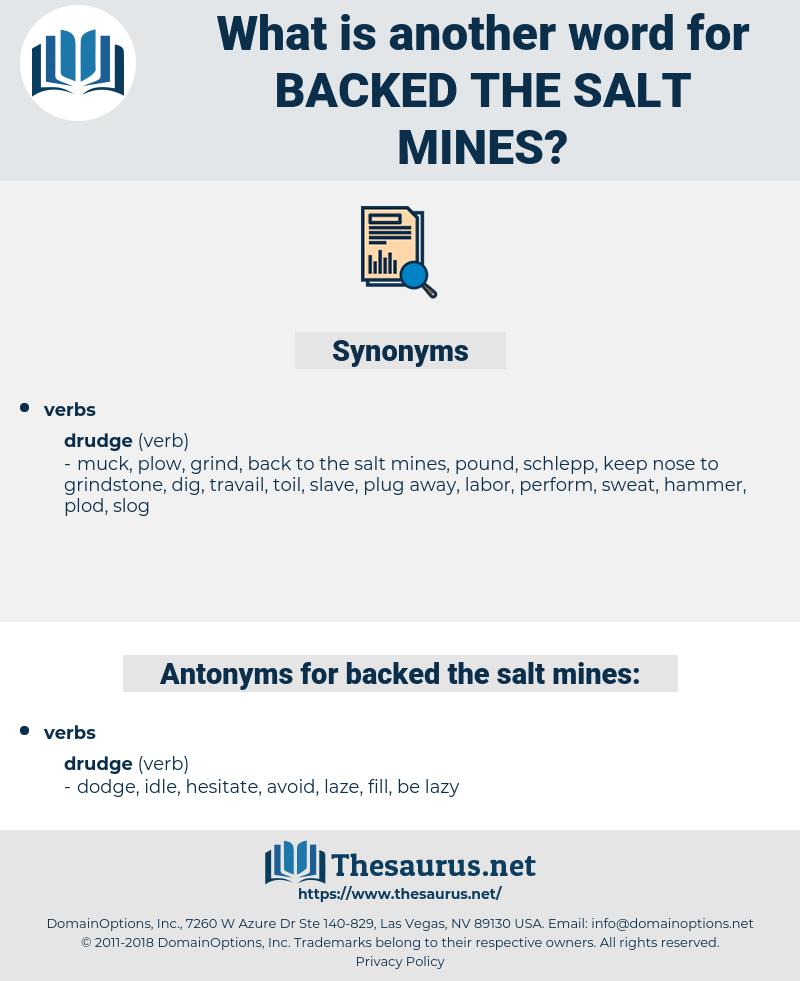 backed the salt mines, synonym backed the salt mines, another word for backed the salt mines, words like backed the salt mines, thesaurus backed the salt mines