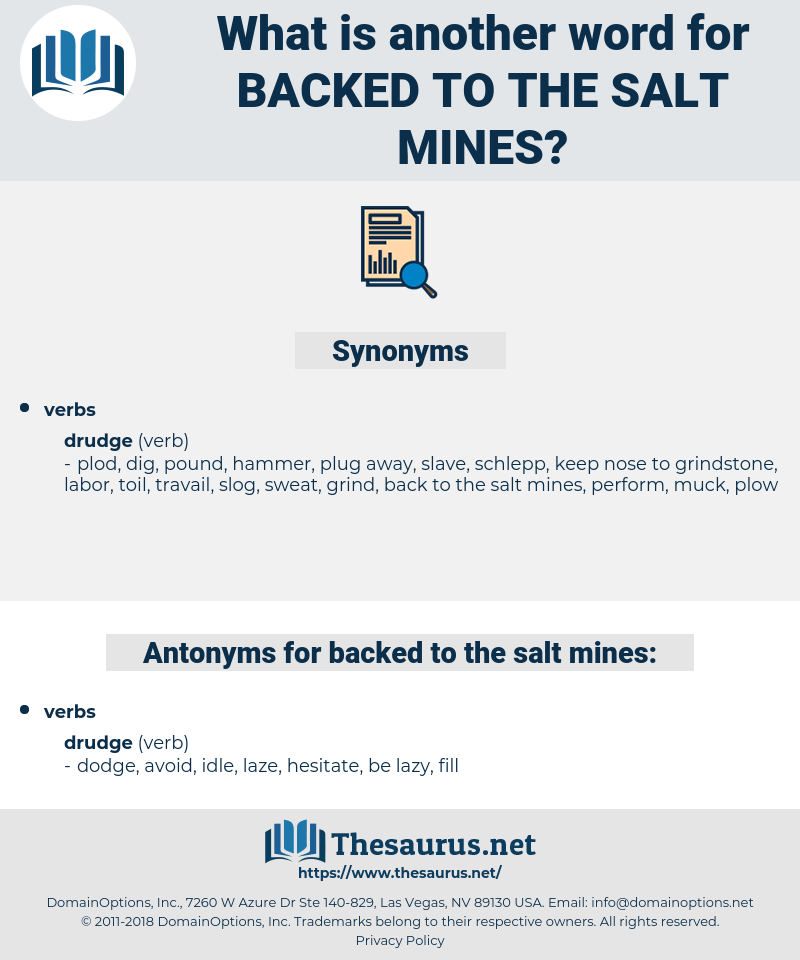 backed to the salt mines, synonym backed to the salt mines, another word for backed to the salt mines, words like backed to the salt mines, thesaurus backed to the salt mines