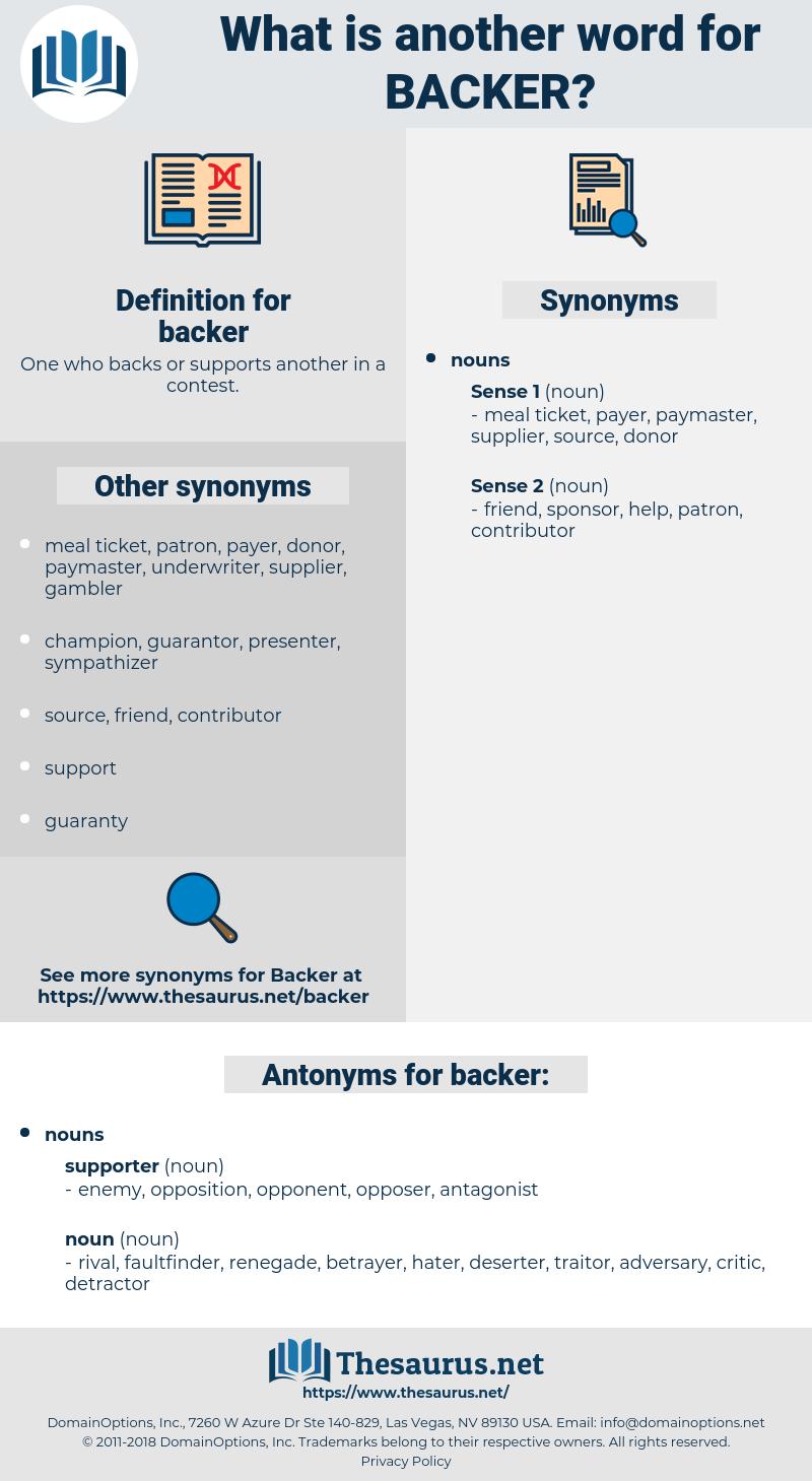 backer, synonym backer, another word for backer, words like backer, thesaurus backer