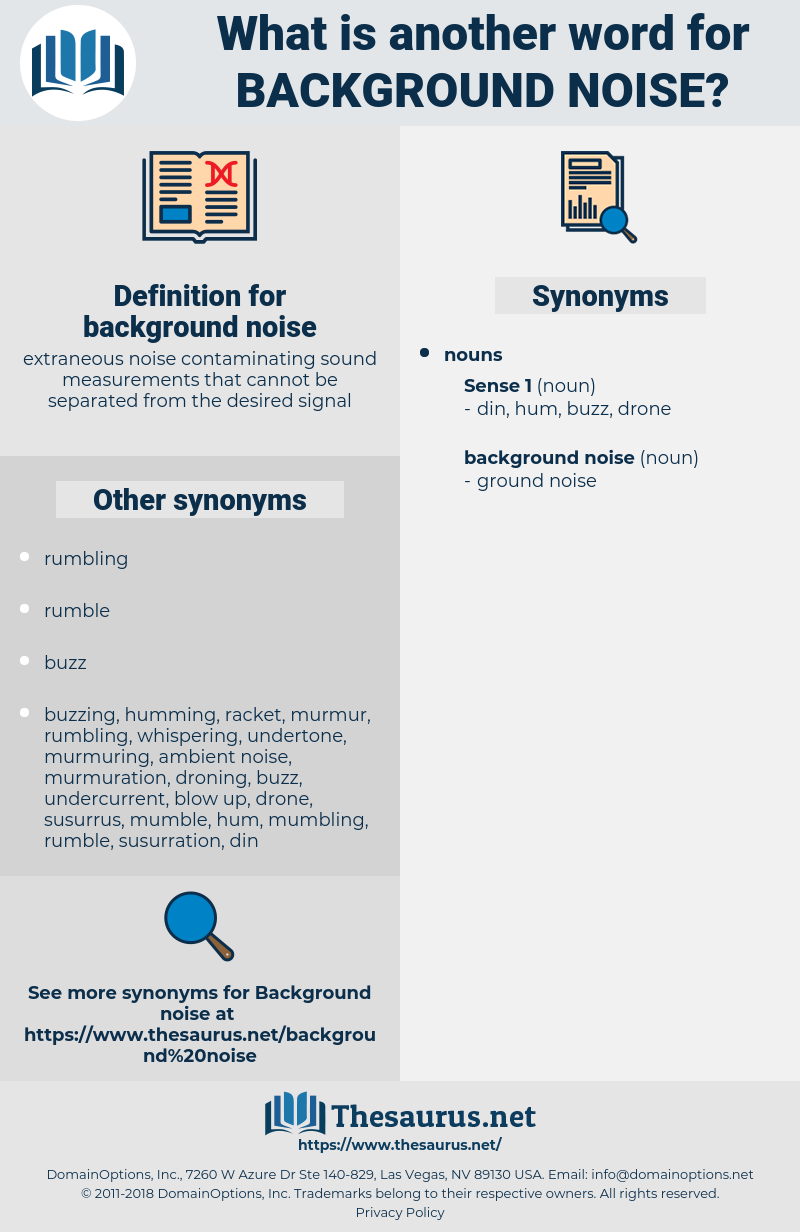 Synonyms for BACKGROUND NOISE - Thesaurus net