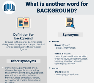background, synonym background, another word for background, words like background, thesaurus background