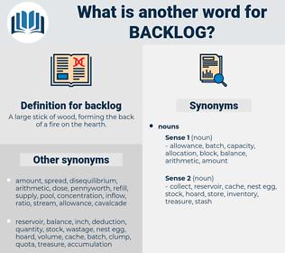 backlog, synonym backlog, another word for backlog, words like backlog, thesaurus backlog