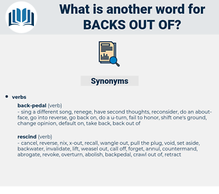 backs out of, synonym backs out of, another word for backs out of, words like backs out of, thesaurus backs out of