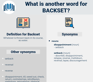 Backset, synonym Backset, another word for Backset, words like Backset, thesaurus Backset