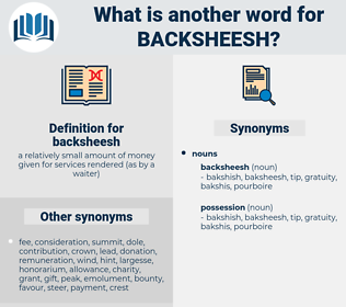backsheesh, synonym backsheesh, another word for backsheesh, words like backsheesh, thesaurus backsheesh