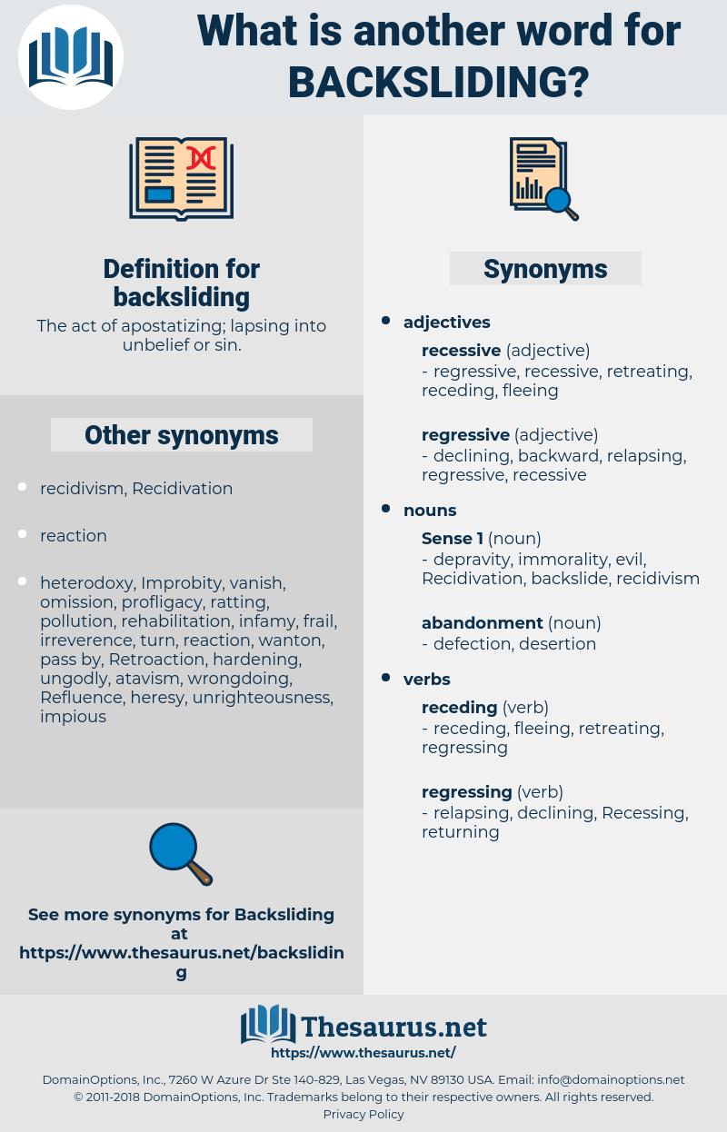 backsliding, synonym backsliding, another word for backsliding, words like backsliding, thesaurus backsliding
