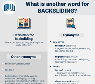 backsliding, synonym backsliding, another word for backsliding, words like backsliding, thesaurus backsliding