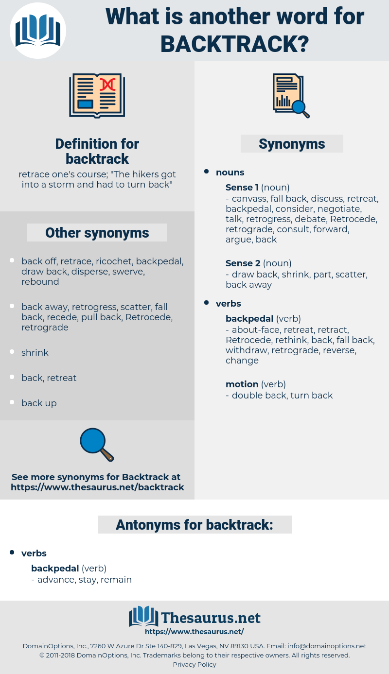 Synonyms for BACKTRACK, Antonyms for BACKTRACK - Thesaurus net