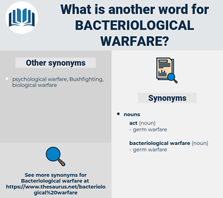 bacteriological warfare, synonym bacteriological warfare, another word for bacteriological warfare, words like bacteriological warfare, thesaurus bacteriological warfare