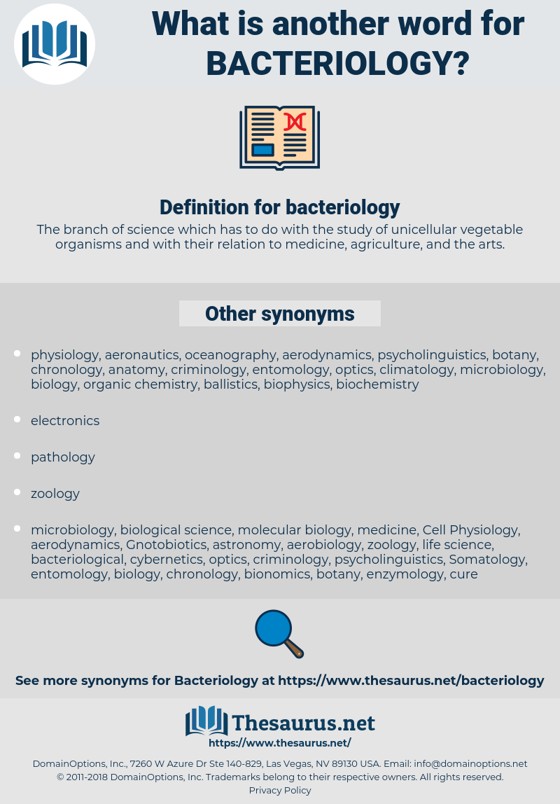 bacteriology, synonym bacteriology, another word for bacteriology, words like bacteriology, thesaurus bacteriology