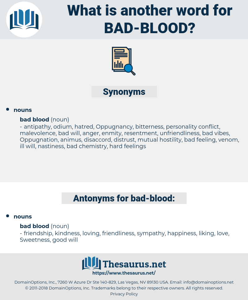 bad blood, synonym bad blood, another word for bad blood, words like bad blood, thesaurus bad blood