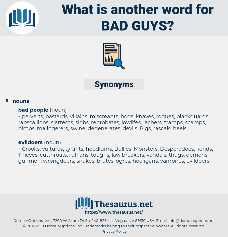 Synonyms for bad guys