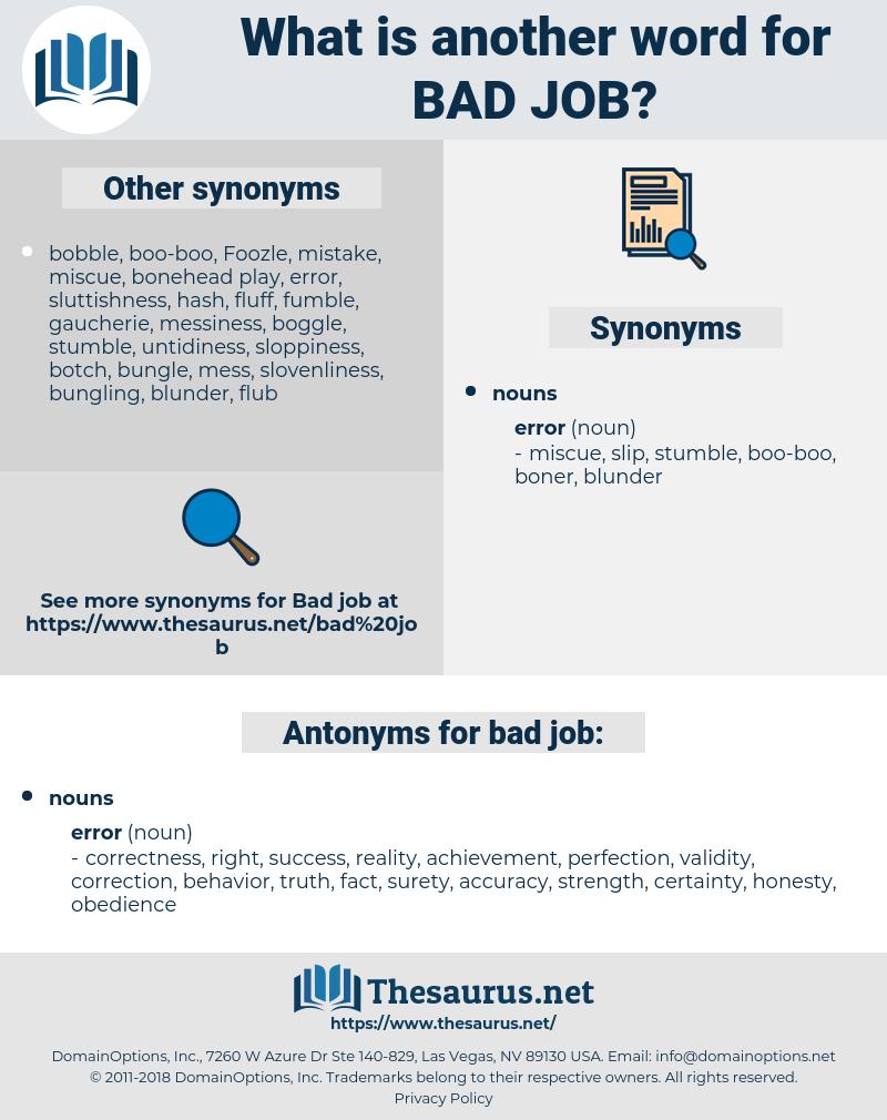 bad job, synonym bad job, another word for bad job, words like bad job, thesaurus bad job