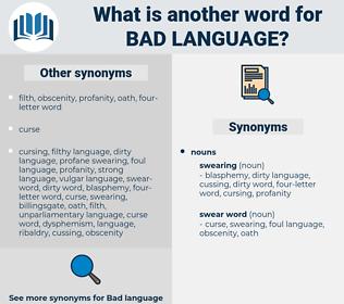 bad language, synonym bad language, another word for bad language, words like bad language, thesaurus bad language