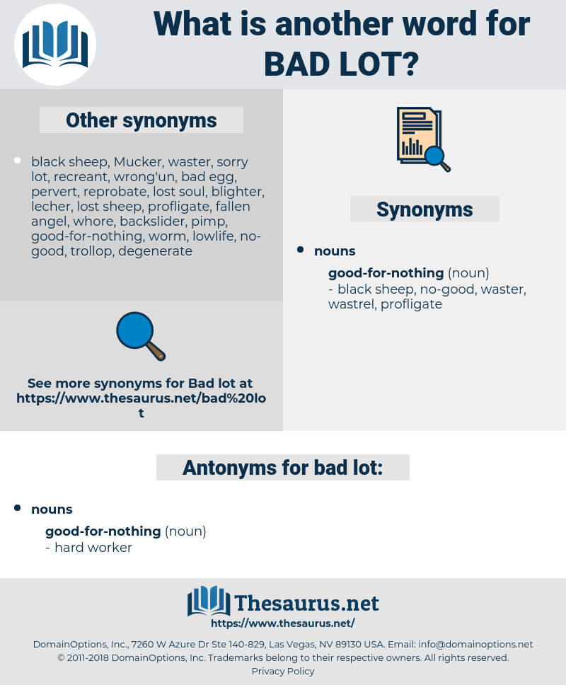 bad lot, synonym bad lot, another word for bad lot, words like bad lot, thesaurus bad lot