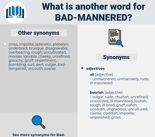 bad mannered, synonym bad mannered, another word for bad mannered, words like bad mannered, thesaurus bad mannered