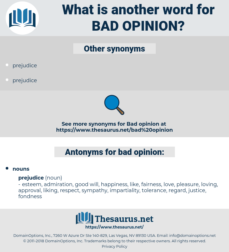bad opinion, synonym bad opinion, another word for bad opinion, words like bad opinion, thesaurus bad opinion