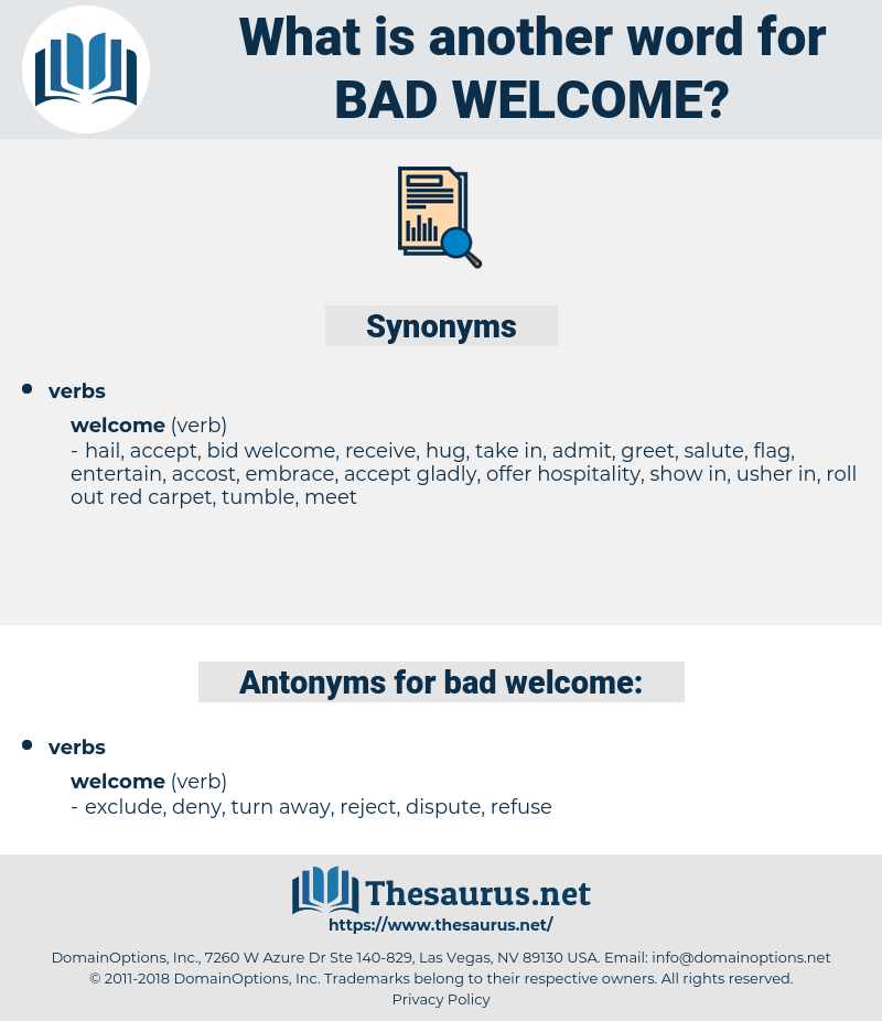 bad welcome, synonym bad welcome, another word for bad welcome, words like bad welcome, thesaurus bad welcome