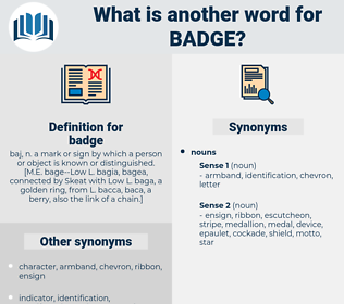 badge, synonym badge, another word for badge, words like badge, thesaurus badge