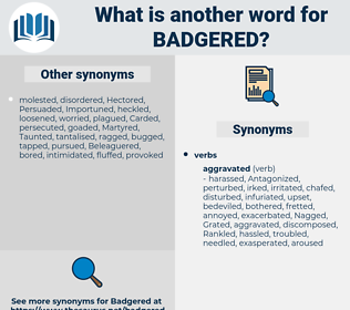 Badgered, synonym Badgered, another word for Badgered, words like Badgered, thesaurus Badgered