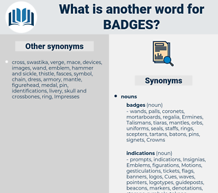 badges, synonym badges, another word for badges, words like badges, thesaurus badges
