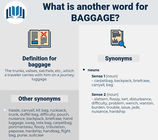 baggage, synonym baggage, another word for baggage, words like baggage, thesaurus baggage
