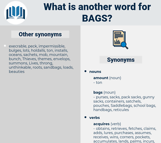 bags, synonym bags, another word for bags, words like bags, thesaurus bags