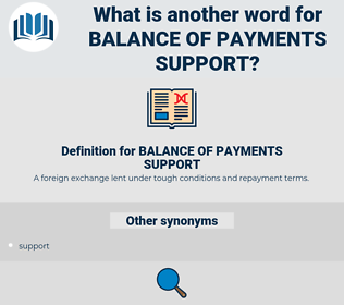 BALANCE OF PAYMENTS SUPPORT, synonym BALANCE OF PAYMENTS SUPPORT, another word for BALANCE OF PAYMENTS SUPPORT, words like BALANCE OF PAYMENTS SUPPORT, thesaurus BALANCE OF PAYMENTS SUPPORT