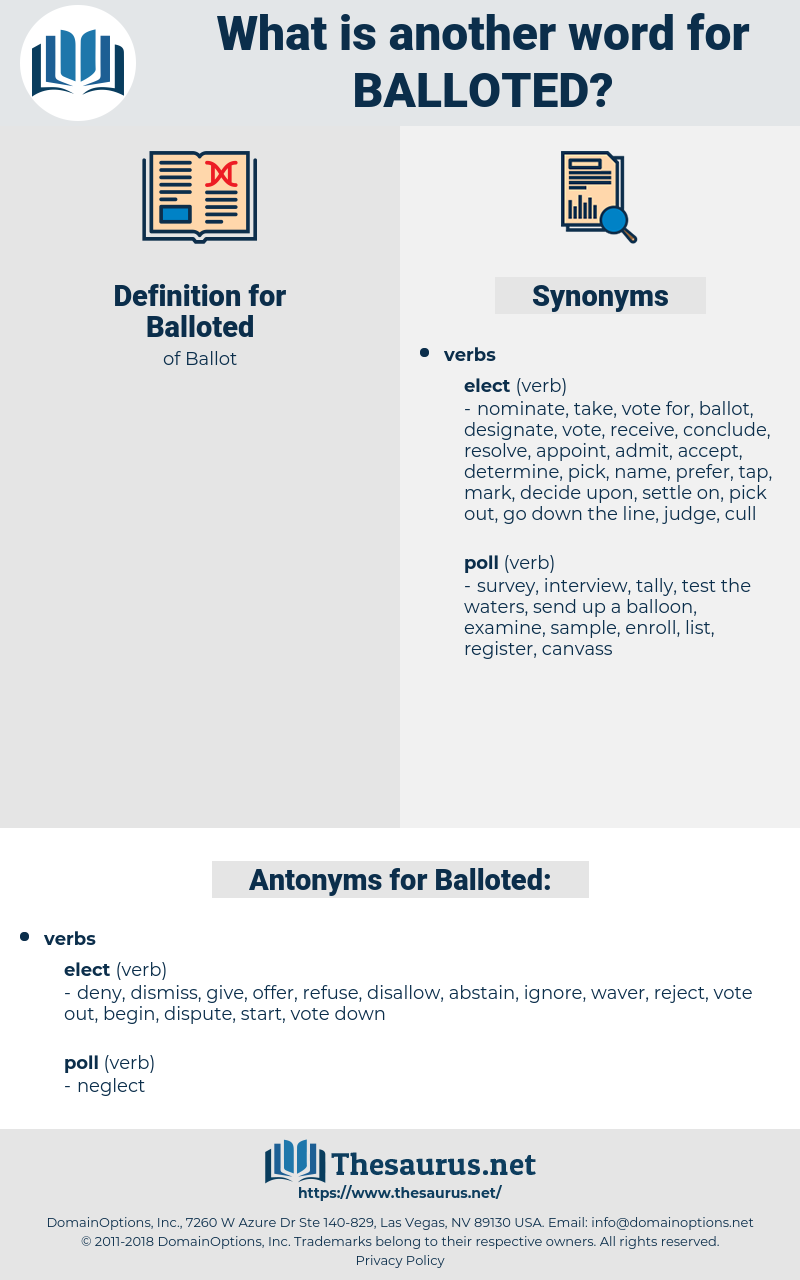 Balloted, synonym Balloted, another word for Balloted, words like Balloted, thesaurus Balloted