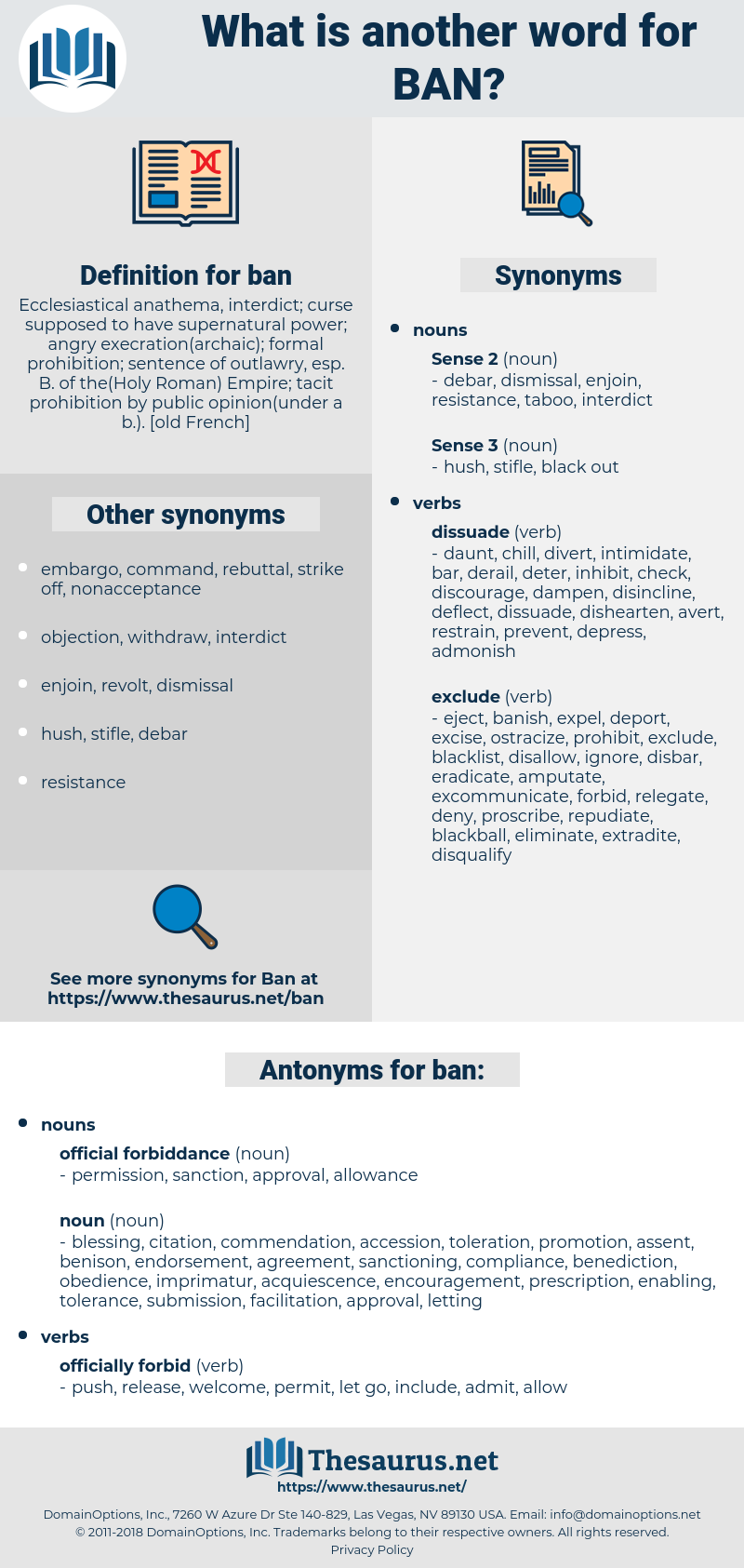 Synonyms for BAN, Antonyms for BAN - Thesaurus net