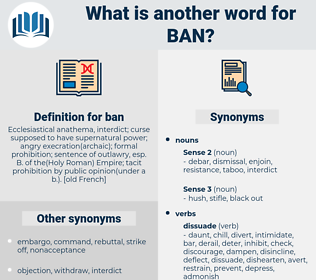 ban, synonym ban, another word for ban, words like ban, thesaurus ban