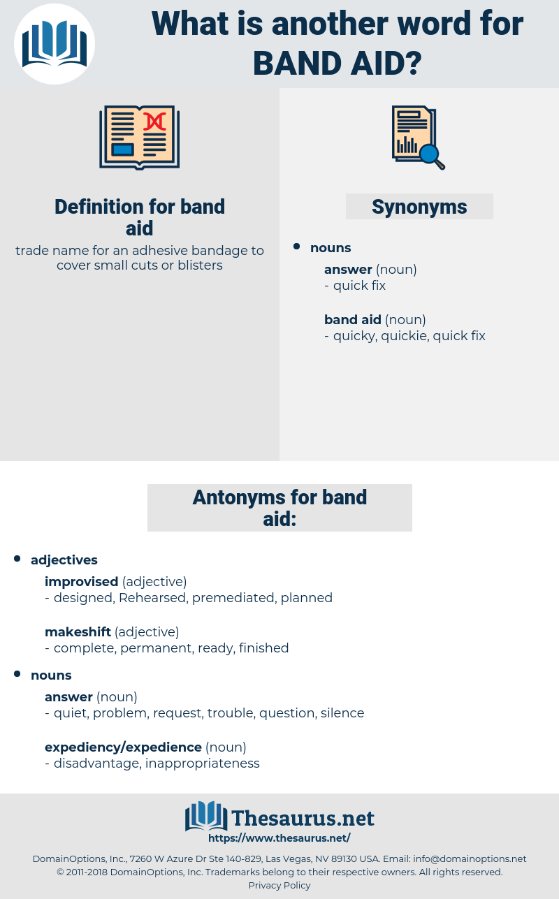Synonyms for BAND AID, Antonyms for BAND AID - Thesaurus net