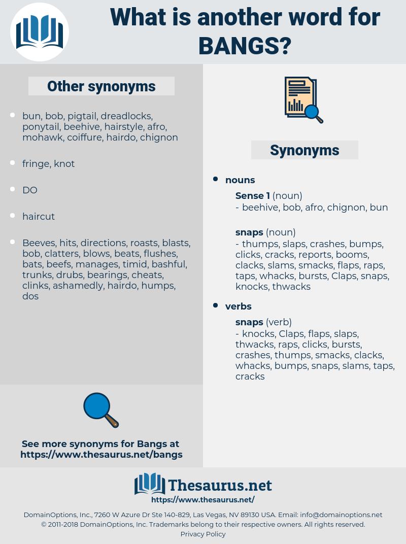bangs, synonym bangs, another word for bangs, words like bangs, thesaurus bangs