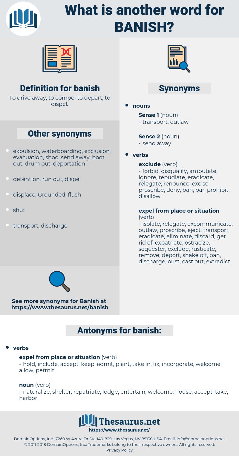 banish, synonym banish, another word for banish, words like banish, thesaurus banish