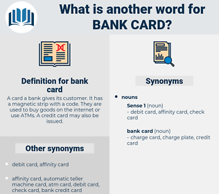 bank card, synonym bank card, another word for bank card, words like bank card, thesaurus bank card
