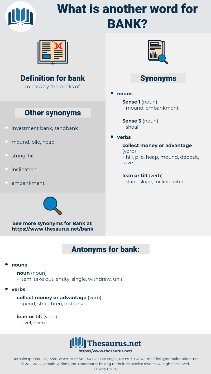 bank, synonym bank, another word for bank, words like bank, thesaurus bank