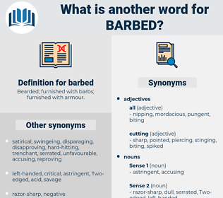 barbed, synonym barbed, another word for barbed, words like barbed, thesaurus barbed