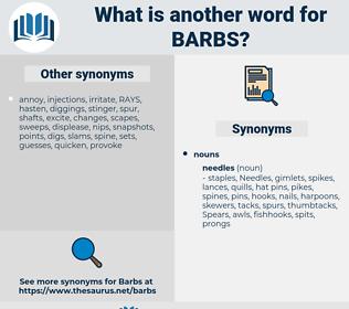 barbs, synonym barbs, another word for barbs, words like barbs, thesaurus barbs