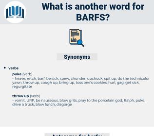 barfs, synonym barfs, another word for barfs, words like barfs, thesaurus barfs