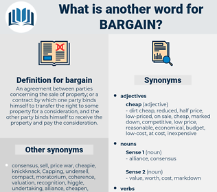 bargain, synonym bargain, another word for bargain, words like bargain, thesaurus bargain