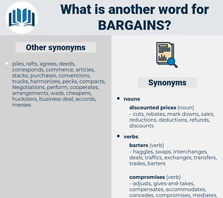 bargains, synonym bargains, another word for bargains, words like bargains, thesaurus bargains