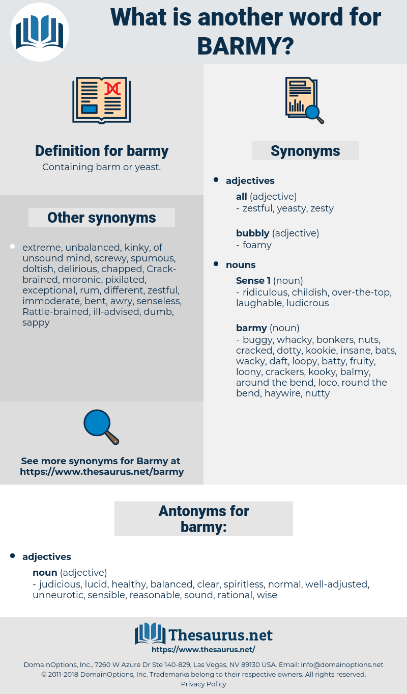 barmy, synonym barmy, another word for barmy, words like barmy, thesaurus barmy