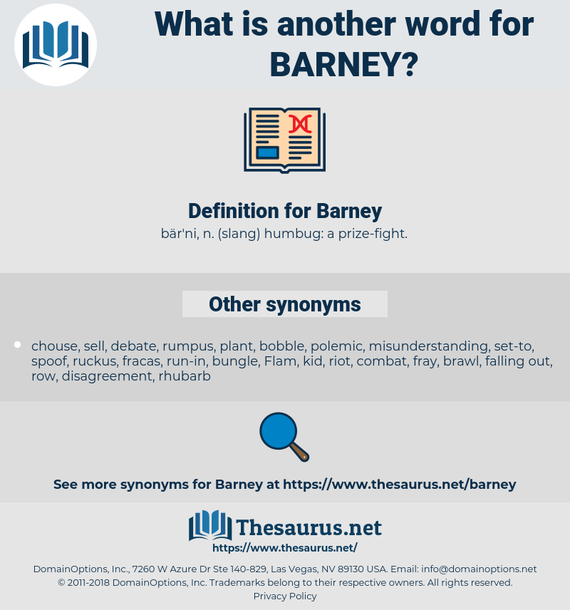 Synonyms for BARNEY - Thesaurus net