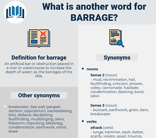 barrage, synonym barrage, another word for barrage, words like barrage, thesaurus barrage