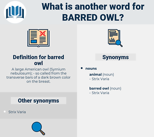 barred owl, synonym barred owl, another word for barred owl, words like barred owl, thesaurus barred owl