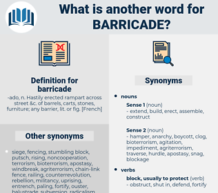 barricade, synonym barricade, another word for barricade, words like barricade, thesaurus barricade